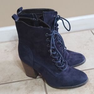 Candies Navy Blue lace up booties